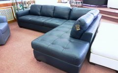 Blue Leather Sectional Sofas