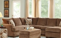 2Pc Luxurious and Plush Corduroy Sectional Sofas Brown