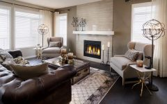 Brown Ceramic Wall Tiles for Classic Fireplace