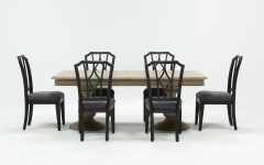 Caira Black 7 Piece Dining Sets With Arm Chairs & Diamond Back Chairs