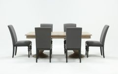 Caira Black 7 Piece Dining Sets With Upholstered Side Chairs
