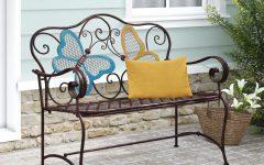 Caryn Colored Butterflies Metal Garden Benches