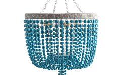 Turquoise Wood Bead Chandeliers