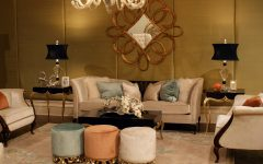 Classic Living Room With Elegant Gold Silk Covers and Large Gold Mirror