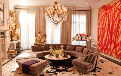 Classic and Luxury Apartment Living Room with Round Sofa and Crystal Chandelier
