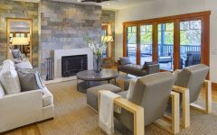 Contemporary Craftsman Living Room With Slate Wall