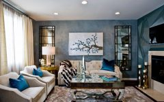 Cozy Blue Theme Art Deco Living Room With Mirrored Coffee Table
