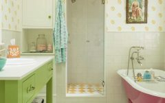 Cozy Cottage Bathroom With Yellow Patterned Tile and Wallpaper