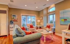 Cozy Sitting Room With Pale Red and Blue Furnishings