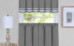 Grey Window Curtain Tier and Valance Sets