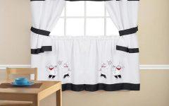 Embroidered Chef Black 5-Piece Kitchen Curtain Sets