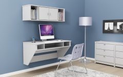 Floating Computer Desk Design Ideas Showcasing Pure White Wooden Desk