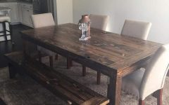 Distressed Walnut and Black Finish Wood Modern Country Dining Tables