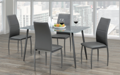 Frosted Glass Modern Dining Tables With Grey Finish Metal Tapered Legs