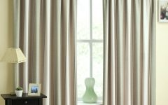Green and Cream Striped Curtains