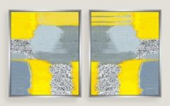 Yellow and Grey Abstract Wall Art