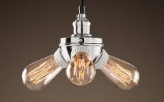 Bare Bulb Filament Pendants Polished Nickel