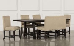 Jaxon Grey 6 Piece Rectangle Extension Dining Sets With Bench & Wood Chairs