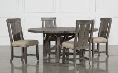 Jaxon 5 Piece Extension Round Dining Sets With Wood Chairs
