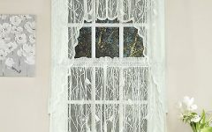 Ivory Knit Lace Bird Motif Window Curtain