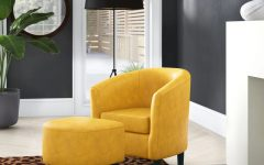 Lucea Faux Leather Barrel Chairs and Ottoman
