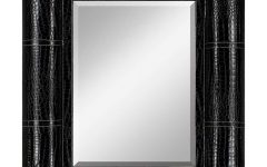 Black Faux Leather Mirror