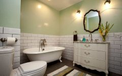Mint Green Cottage Vintage Bathroom With White Subway Tile