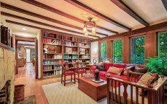 Modern Craftsman Living Room Built in Bookshelves and Exposed Ceiling Beams