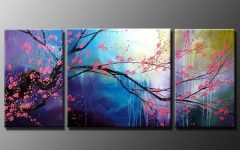 Cherry Blossom Oil Painting Modern Abstract Wall Art