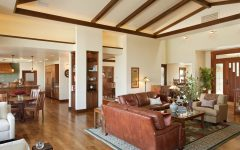 Modern Living Room With Vaulted Dark Stained Wood Ceiling Beams