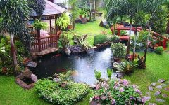 Modern Nature Garden Pond With Gazebo
