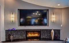 Modern Shiny Mosaic Tile the Black Quartz and Contemporary Gas Fireplace