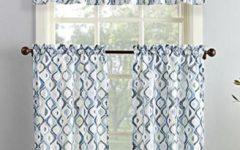 Geometric Print Microfiber 3-Piece Kitchen Curtain Valance and Tiers Sets