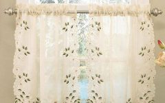 Floral Embroidered Sheer Kitchen Curtain Tiers, Swags and Valances
