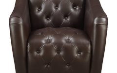 Chocolate Brown Leather Tufted Swivel Chairs
