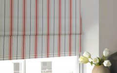 Blue and White Striped Roman Blinds
