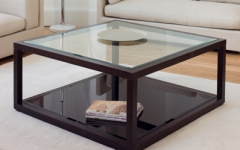Black Wood and Glass Coffee Tables