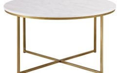 Round White Wash Brass Painted Coffee Tables