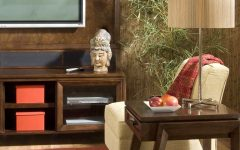Sculpture and Bamboo Wall Coverings Decor for Living Room