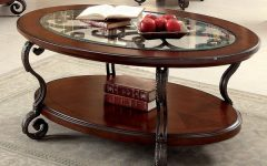 Cohler Traditional Brown Cherry Oval Coffee Tables