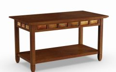 Copper Grove Ixia Rustic Oak and Slate Tile Coffee Tables