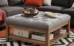 Lennon Pine Planked Storage Ottoman Coffee Tables