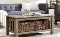 Rustic Coffee Tables With Wicker Storage Baskets