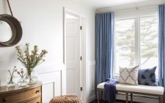 Simple Blue and White Colonial Hall With Bench