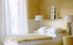 Simply Fabric Bedroom With Decorative Floral Wall