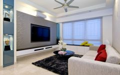 Stylish Living Room Apartment with Carpet and Ceiling Fan