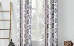 Geometric Print Textured Thermal Insulated Grommet Curtain Panels