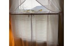 White Tone-on-Tone Raised Microcheck Semisheer Window Curtain Pieces