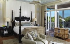 Traditional Bedroom With Floral Printed Green and Blue Pillows