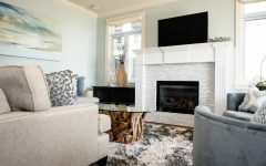 Traditional Living Room With Ceramic Wall Tiles in Fireplace
